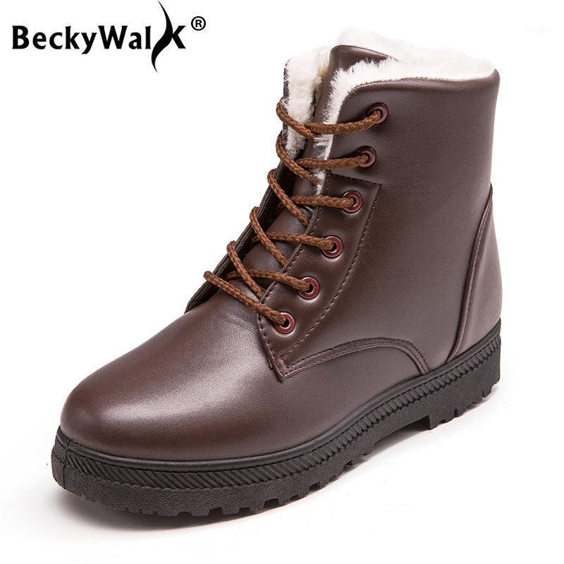 Beckywalk más tamaño 35-44 zapatos de mujer Botas de nieve de invierno Mujeres antideslizantes Botas impermeables calientes zapatos de peluche Mujer WSH30221