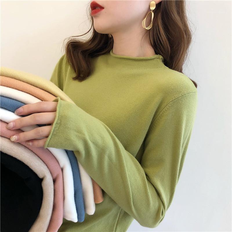Herbst frühling pullover frauen langarm pullover frauen basisch pullover button halb turtrichck koreanische stil strick tops sexy süß1