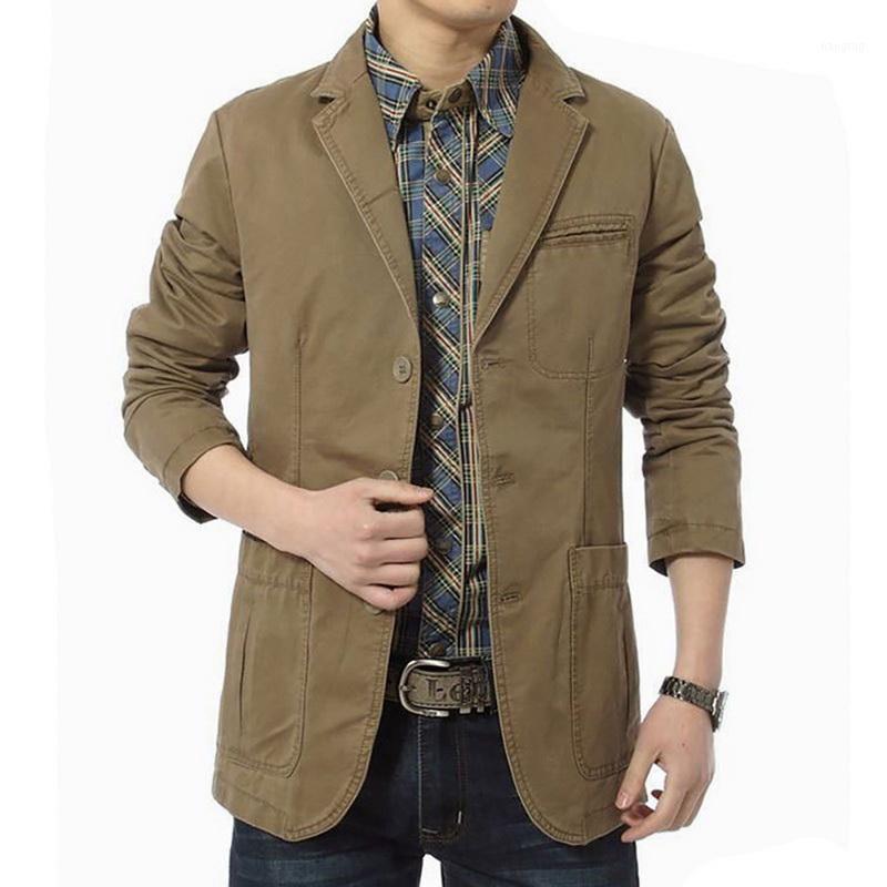 Vogue Tallas Tallas Men Blazer Jacket de traje de algodón Manga larga Solid Slim Button Single Breasted Cotton Lightweight Blazer Jacket1