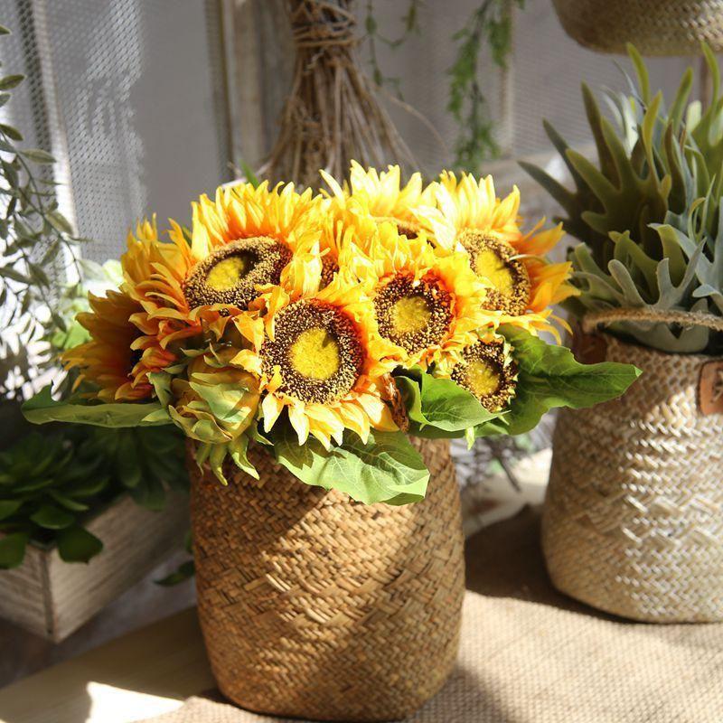 Yapay Ayçiçeği Çiçek Buketi 7 Kafaları Ipek Sahte Çiçekler Parti Ofis Dekor Için Ev Bahçe Dekorasyon Yapay Bitkiler