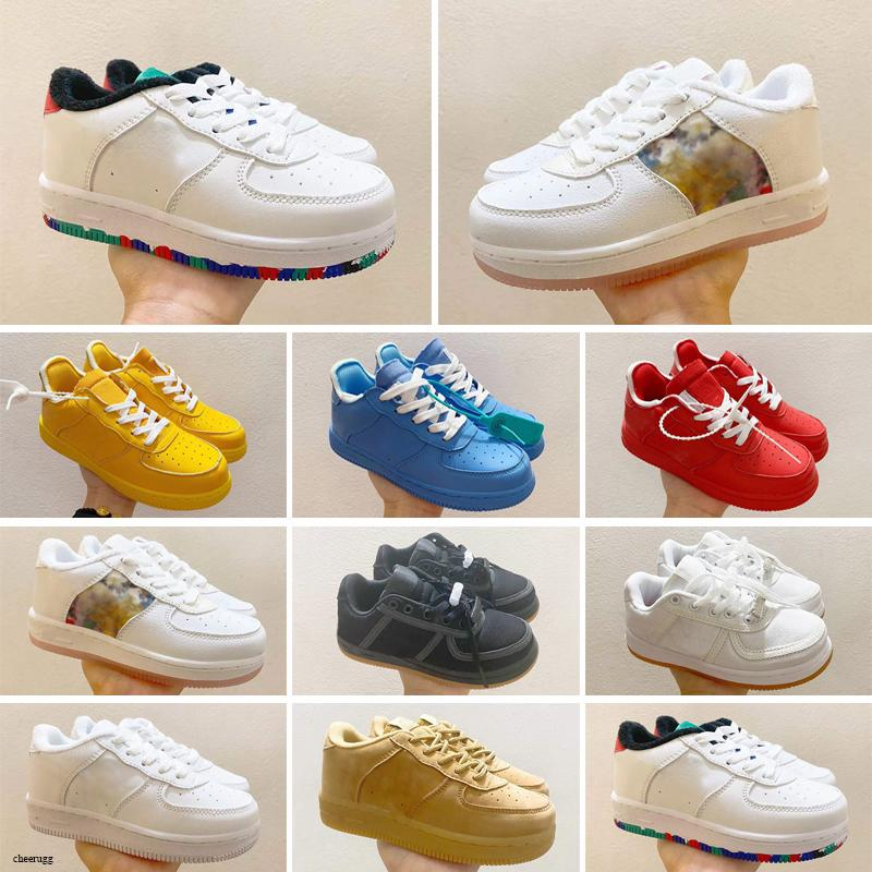 Cheap Kids Classic Designer Shoes High Cut Children Buckle Strap Shoe Chassures One Enfant Sneakers Leather Basketball Trainers Eur22-35