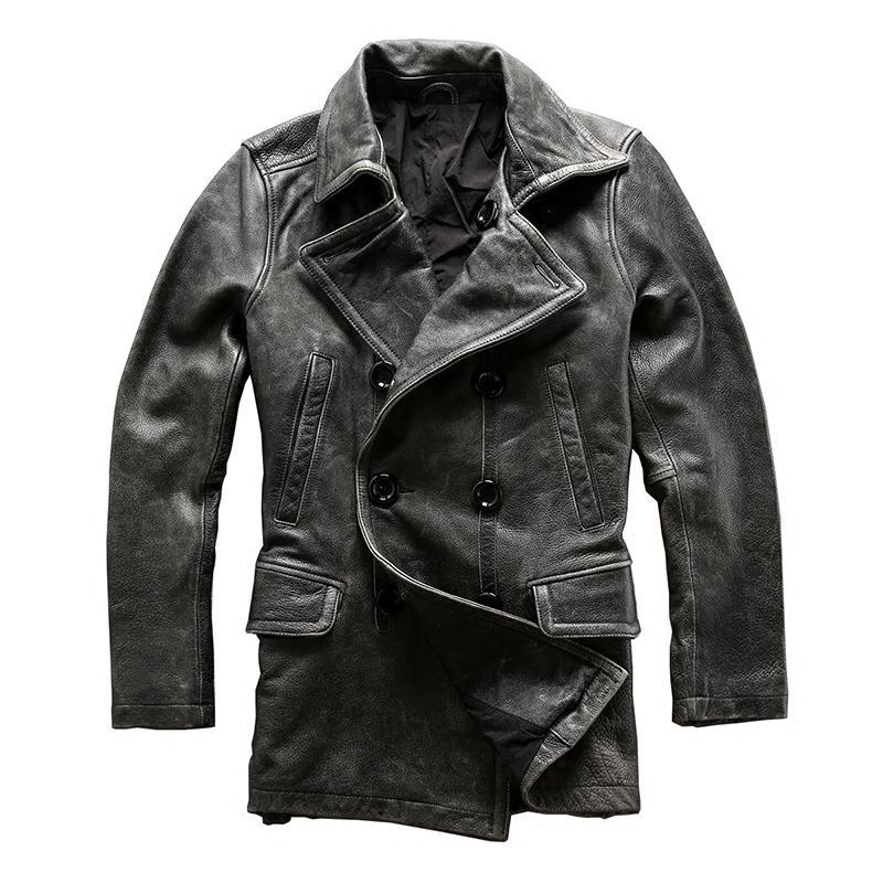 Lis la description! Asiatique taille homme hiver véritable veste en cuir de vachette de vachette classique classique de cuir de vachette de cuir de vachette gris lj201029
