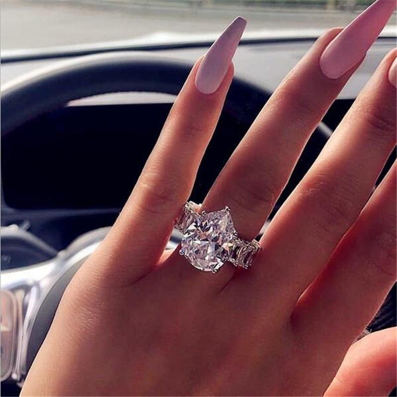 Tamanho 5-10 Top Venda Luxo Jewlry 925 Sterling Prata Drop Drop Drop Cut Topázio Big CZ Diamond Gemstones Mulheres Casamento Banda Anel Presente