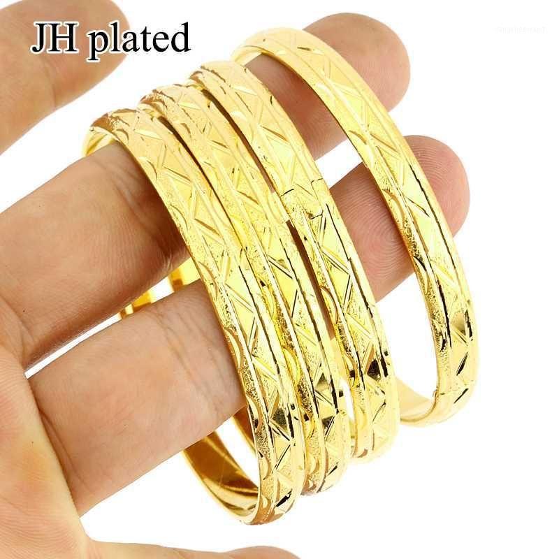 Jhplated 4 أجزاء الأفريقية الأزياء الساخنة سوار الإسورة للمرأة الذهب لون مجوهرات العربية هدية 1