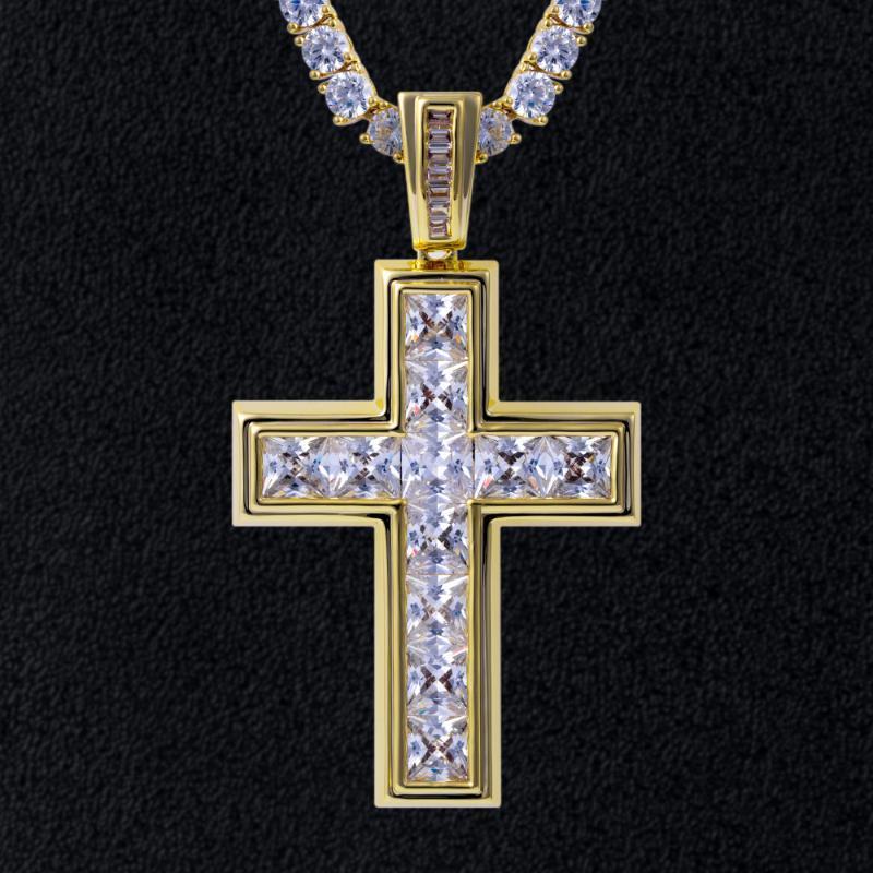 Pendentif Colliers Dnschic Baguette Bijoux Cubic Zirconia Hip Hop Princesse Coupée Glafe Out Homme Femme Croix avec cristaux