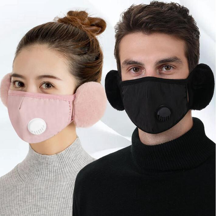 Cycling Masks Breathing Filter Face Valve Mask With Earflap Anti-Fog PM2.5 Activated Carbon Masks Outdoor Training Face Shield ZYY40