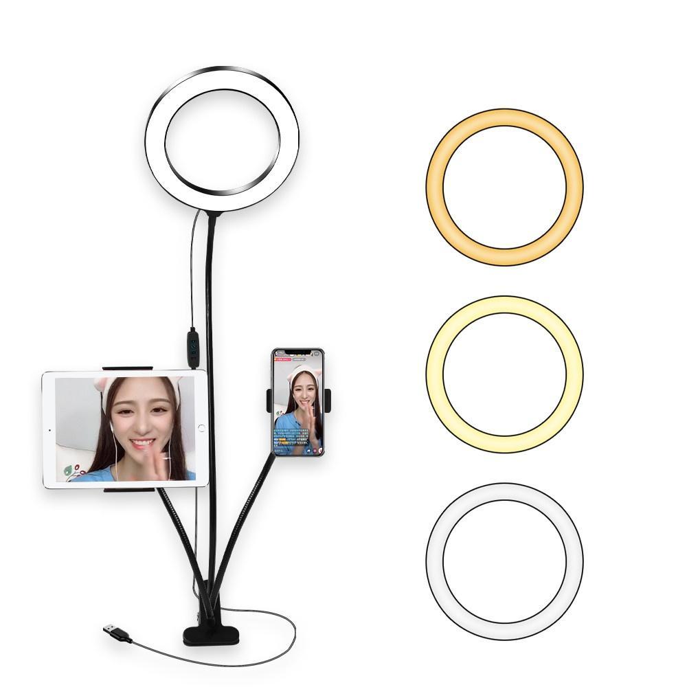 8Inch Light Ring kit de bureau avec tablette Support de téléphone pour le maquillage YouTube Vidéo Diffusion en direct Beauté selfie LIGHTING pour iPad