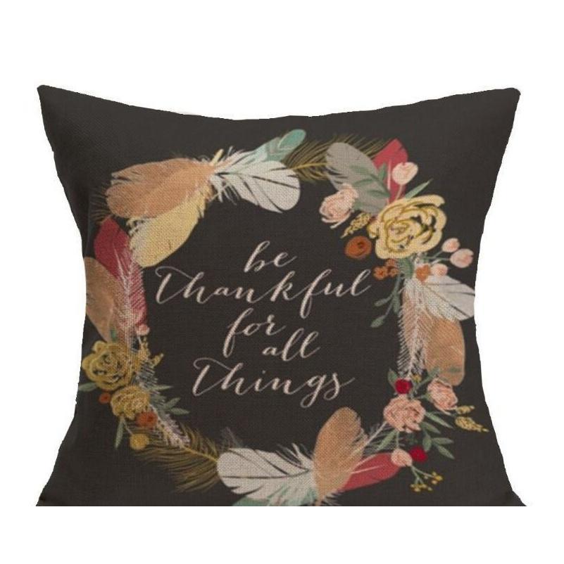 Feliz Dia de Ação de Graças Almofadas de Almoço de Cabelos de Queda Decoração de Algodão Dê Obrigado Sofá Lance Fronha Caso Casa Cushion Cushion Sqcorg Wphome