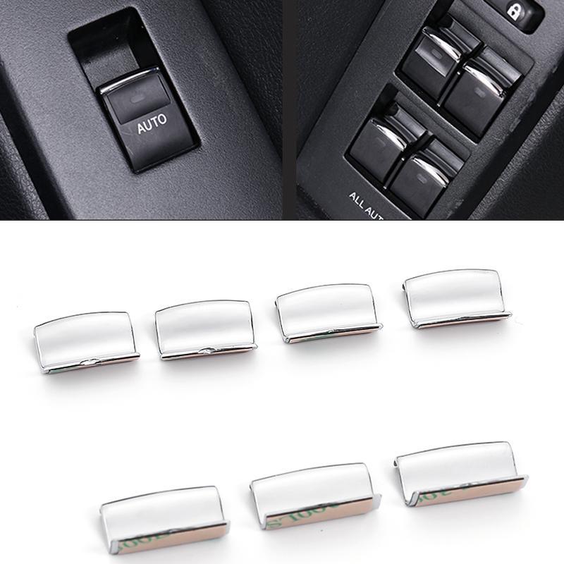 Toyota Prado 2010-2020 Oto Araba Sol Sağ Kapı Pencere Düğmesi ABS Gümüş Dekoratif Kapak Trim