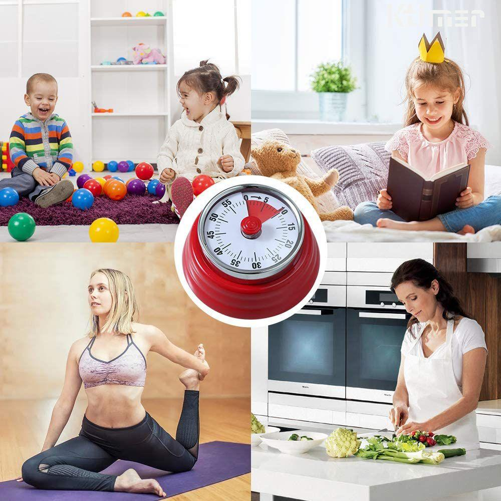 Ktimer Mechanical Clock Timer for Teaching Homework Exercise, Cooking Countdown Timer Alarm, No Batteries Required Magnetic Steel Body Red
