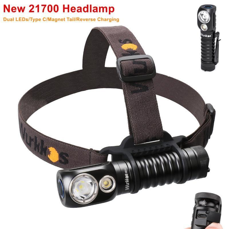 Wurkkos HD20 Headlamp per ricaricabile 21700 2000LM Dual LED LH351D e XPL con tipo C Taglia retromarcia Coda magnetica