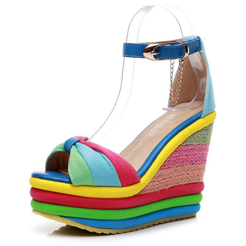 Kadın Topuk Moda Kızlar Yaz Yüksek Açık Burun Roma Sandalet Ayakkabı Kadınlar Için MLW4