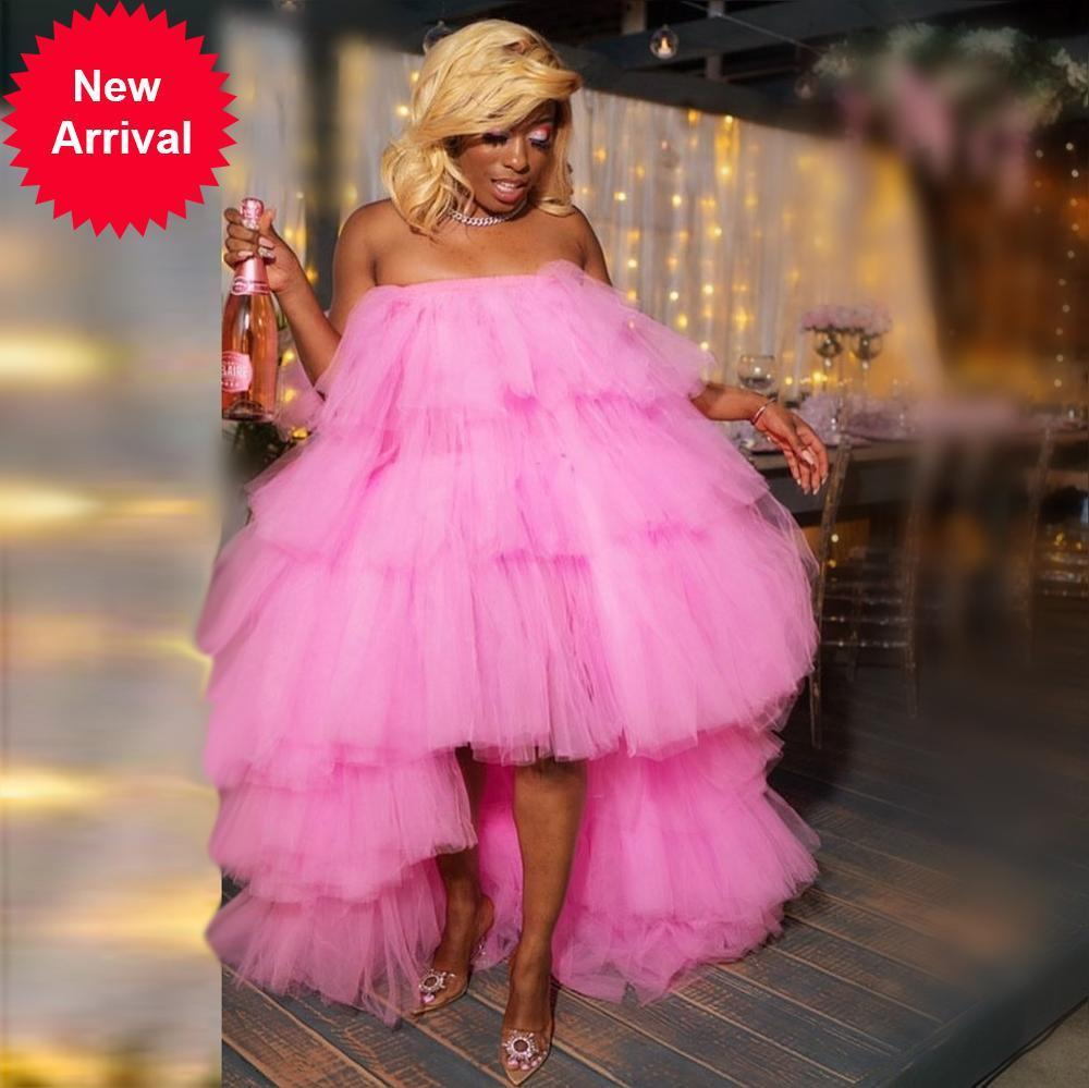 New Fashion Party Dresses Women Plus Size Ruffled Hi Low Dress Birthday Prom Beach Photo Shoot Girls Tulle Gowns