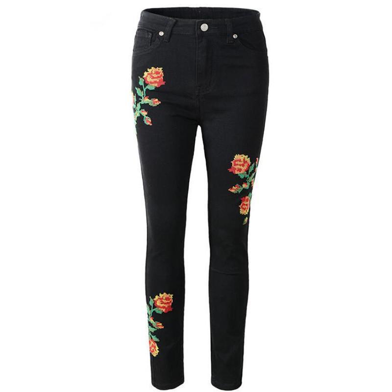 Bordado de rosa Black Skinny Jeans Femenino Casual Cintura Alta Pocket Papel Pantalones Largos Denim Pantalones Mujeres Abajo 2020 NUEVO B252