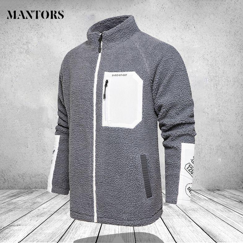 Zipper Mens Wool Jackets Fashion Stand Collar Zip Pockets Male Warm Thick Coats Slim Fit Fashion Mens Outerwear Windbreaker 4XL kg-565