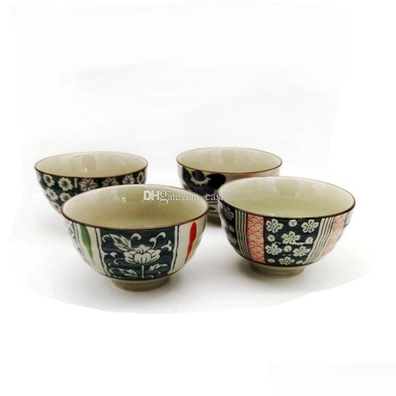 Vintage japonês porcelana arroz bacias asiáticas estilo de vida país lado projeto flor 4,5 polegadas cerea sqcfac wphome
