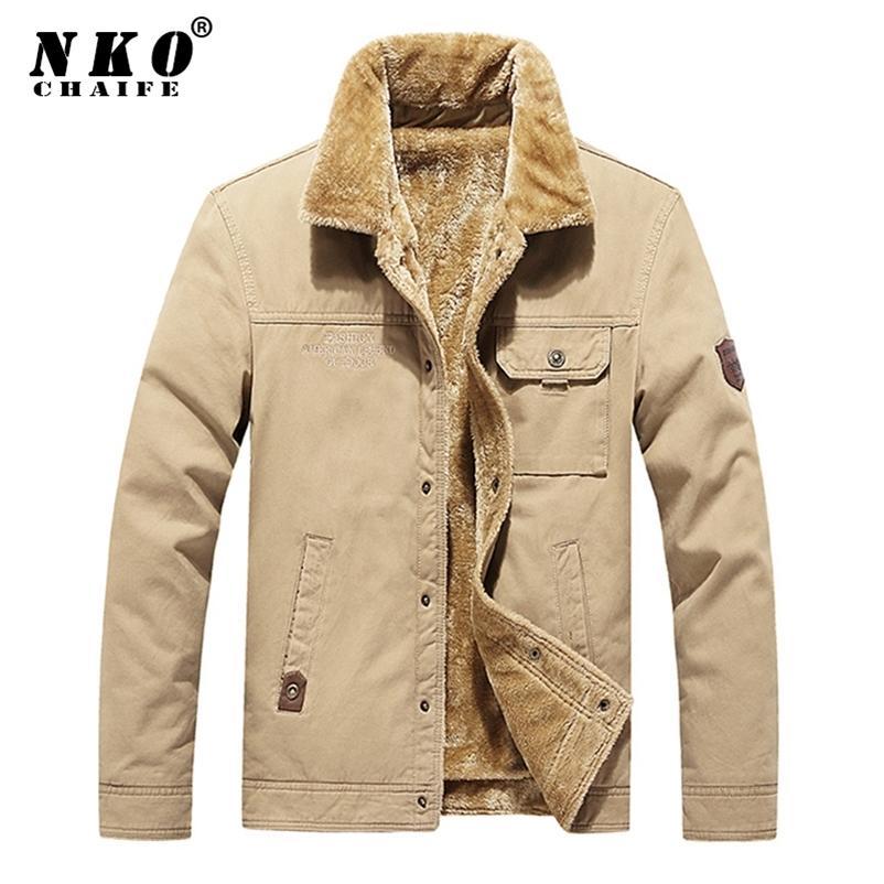 Chaifenko Бренд мужской бомбардировщик куртка Parka пальто мужчины зима толстые теплые флисовые повседневные пальто мужчины мода хлопчатобумажный меховой воротник куртка мужчины 201218