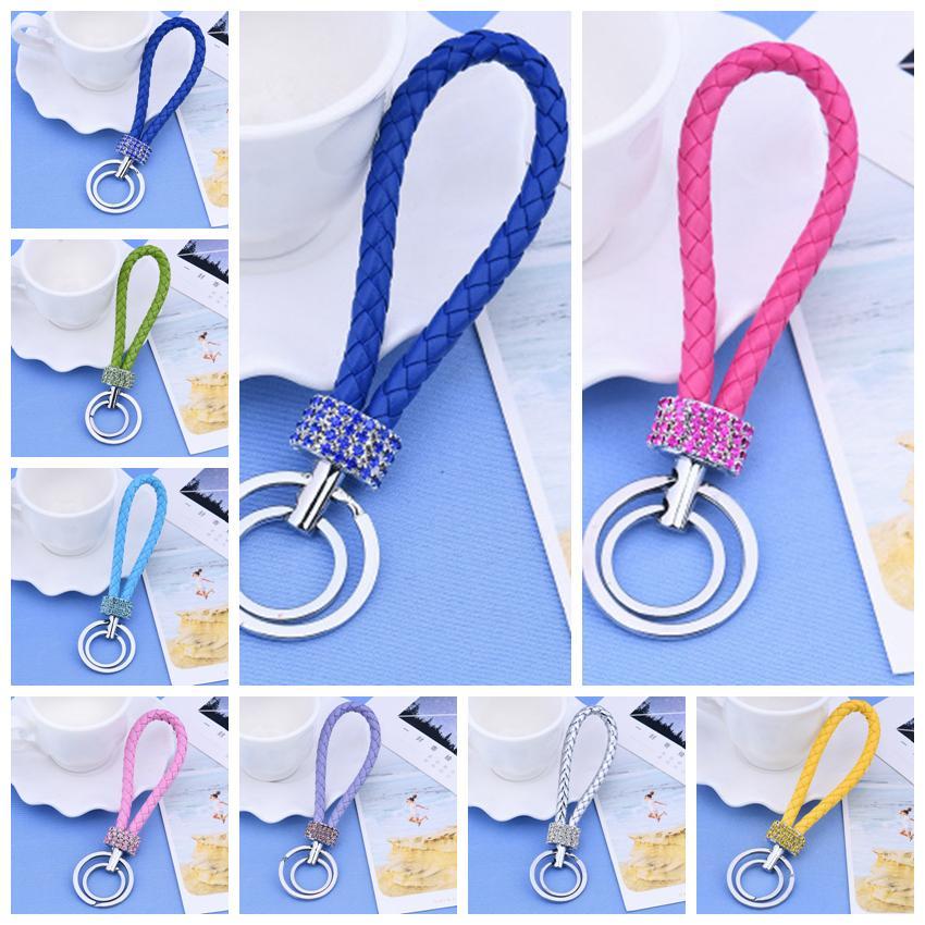 Cristal Keychains strass Double boucle Fashion Creative Sac à dos Clé Chaînes Porte-monnaie Messenger Sac Sac à dos Pendentif 23 ColorSls128