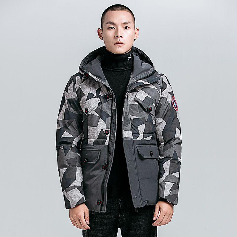 Camouflage Black Grey Men's Parkas Regular Length Winter Thick Coat Zipper Button Windproof Outwear Hooded Men Winter Jacket