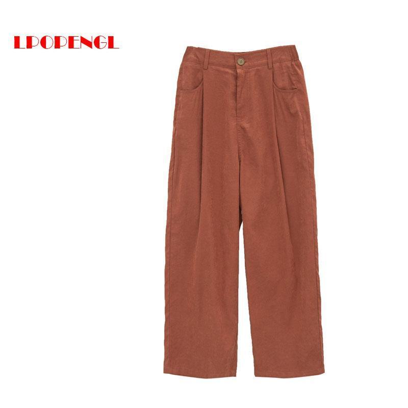 여성용 바지 카프리스 하이웨이 넓은 넓은 다리 2021 봄 가을 패션 캐주얼 느슨한 간단한 모든 성냥 탄성 허리 바지 의류