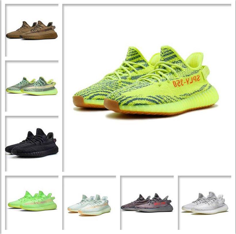 Herren Womens Sports Schuhe 2021 Kanye West Asche-blaue Schuhe Berühmte Beste Markenlicht Reflektierende Lässige Sport Turnschuhe Lotus Farbe Schuhgröße