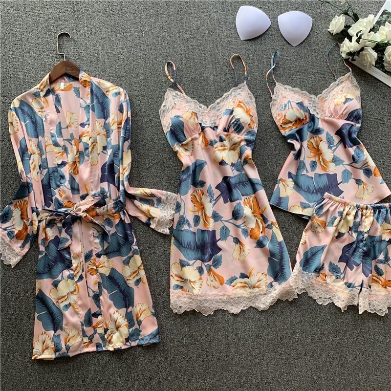 4 pezzi stampato floreale sleepwear da donna in pizzo camicia da notte raso negligente negligente nightwear sexy lingerie notturno abito da damigella d'onore accappatoio
