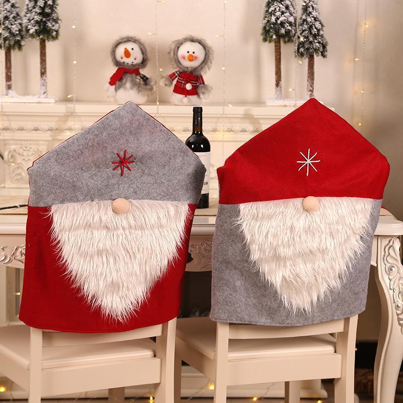 Christmas Chair Cover Christmas Cartoon cartoon Santa Claus Snowman stampato sedie tessuto non tessuto copertura home decor