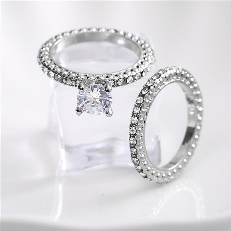 New White Gold Clear White CZ Zircon Wedding Engagement Ring Sets For Women Fashion Gemstone Crystal 2Pcs/set Rings Bague SJ