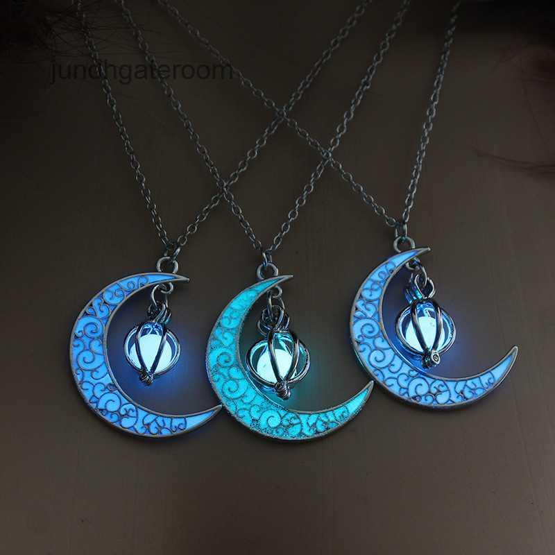 Продажа светящейся луны тыква кулон ожерелье лучше всего