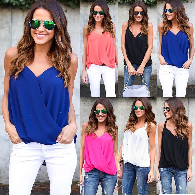 Verano mujer moda v cuello cuello sexy color blusa gasa gasa sin espalda casual tops mujeres blusa sin mangas camisas AQ939370