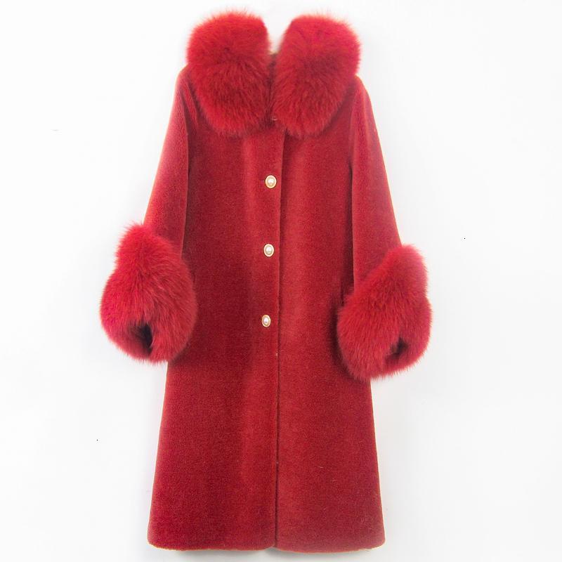 F2DMoftbuy 2020 VROUWEN Зимняя куртка Real Korrel Schapen Scheren Jas Natuurlijke Vos Bontkraag Streetwear Dikke Warre Bofвенок