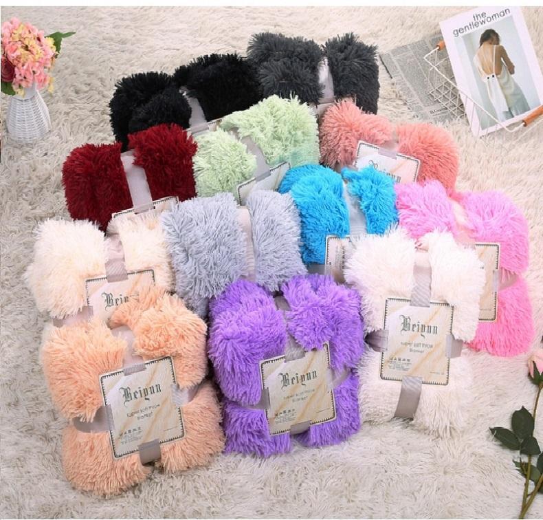 Plush Blanket Soft Fur Faux With Fluffy Throw Blanket Bed Sofa Bedspread Long Shaggy Warm Bedding Sheet Cozy Blankets 80*120cm