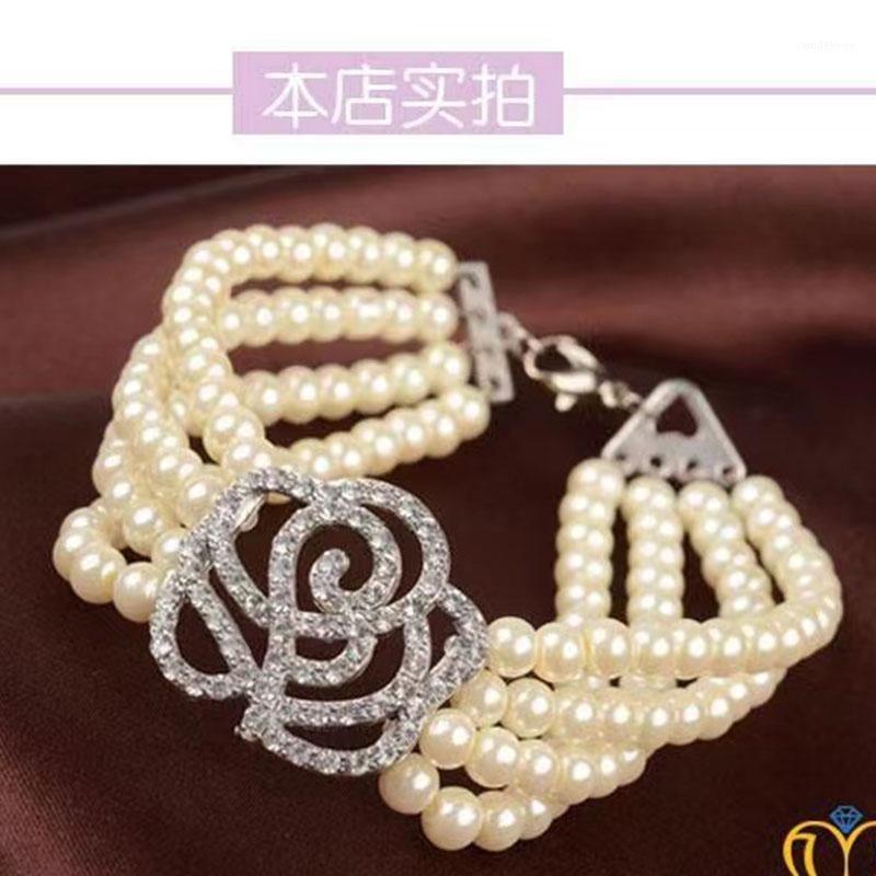 Bracelet de luxe en cristal de rose Perle multicouche Bracelet élastique pour femmes accessoires de mariage bijoux pour bracelets filles1