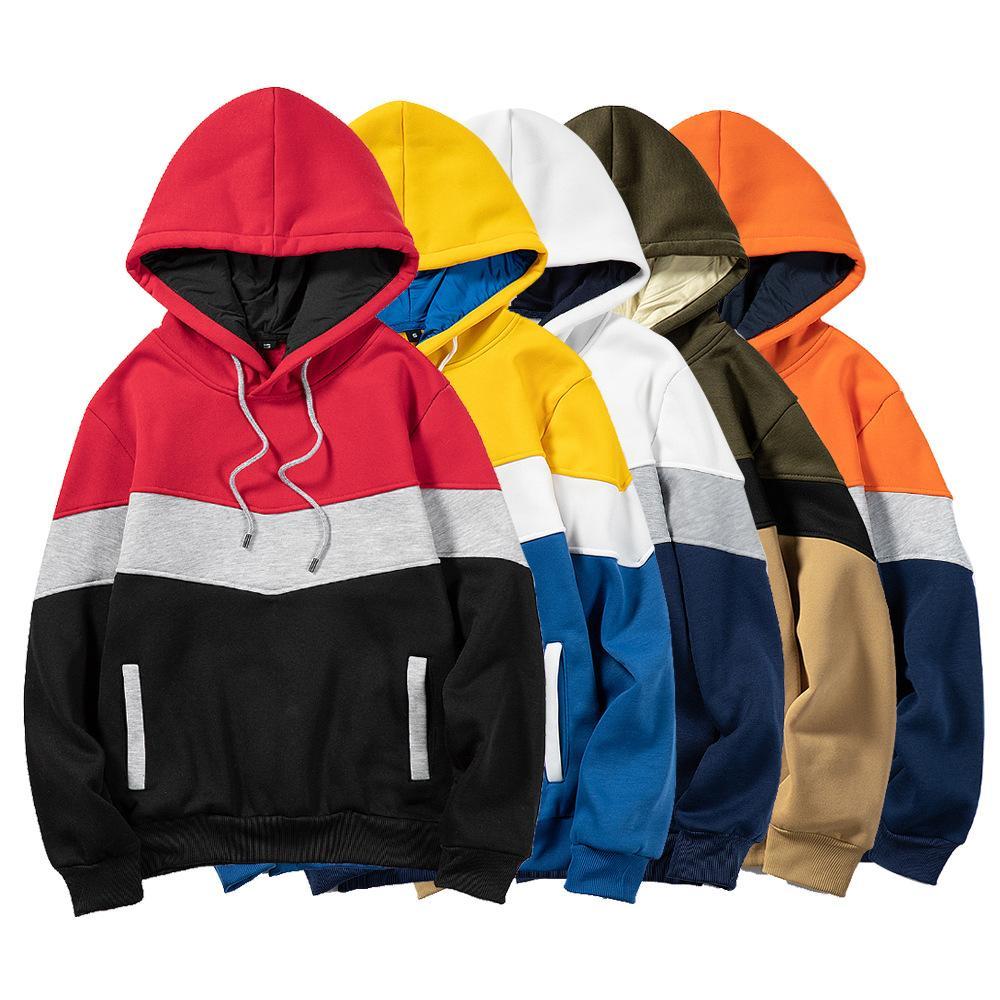 Patchwork Solid Hoodie Men Women Hiphop Hoodies 2021 Loose casual Sweatshirts Men's Style Casual Harajuku Male Top Blouse hoodie
