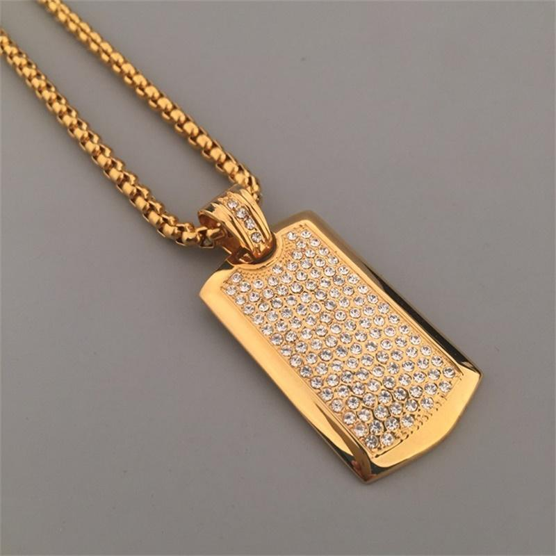 Titanium Steel Hipsters Punk Hip Hop Jewelry 24K Gold Plated Rhinestone Dog Tag Pendant Long Chain Necklace For Mens Women 329 N2
