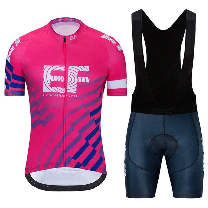 Nuevo Educación EF Equipo Primer equipo Ciclismo Jersey Traje 2020 Verano MTB Trajes de bicicleta Men's Quick Dry Racing Bicycle Sports Uniform Y20050501