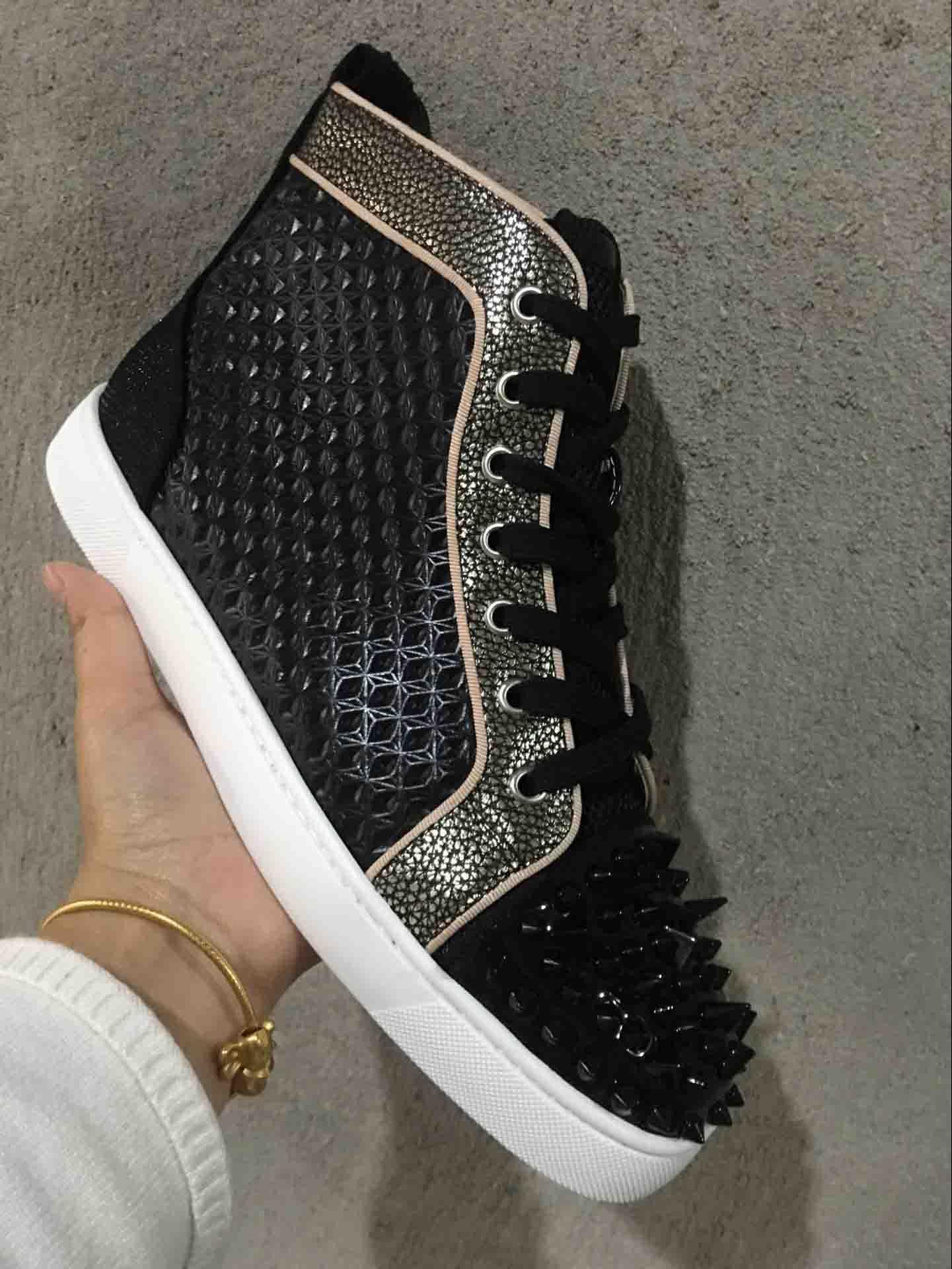 Christian Louboutin CL Luxus Designer Sneakers Männer Frauen Freizeitschuhe Party Kleid hochgeschnittene Spikes Plattformen Rote Bottom Trainer Schuhe Sneakers Männer TMJ