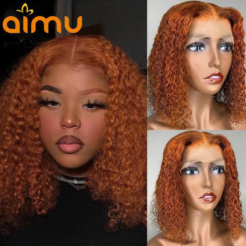 4x4 Schließung Spitze Front Menschliches Haar Perücke Baby Haar Pixie Schnitt Perücke Orange Farbe Ingwer Curly Kurzer Bob für schwarze Frauen vorbereitet