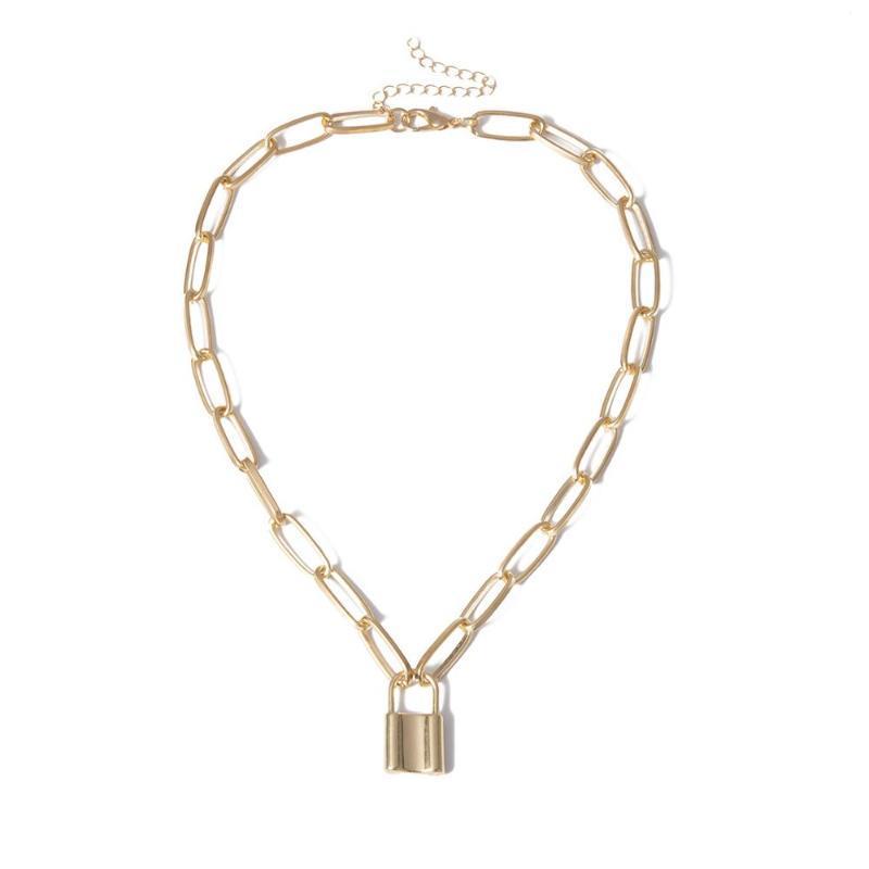 Ожерелья кулон Ожерелья Punk Love Lock Choker Ожерелье Воротник Ожерелье Приложение ключицы Золотой Замок Длинная цепочка Стимпанк Женщины Пара Ювелирных Изделий