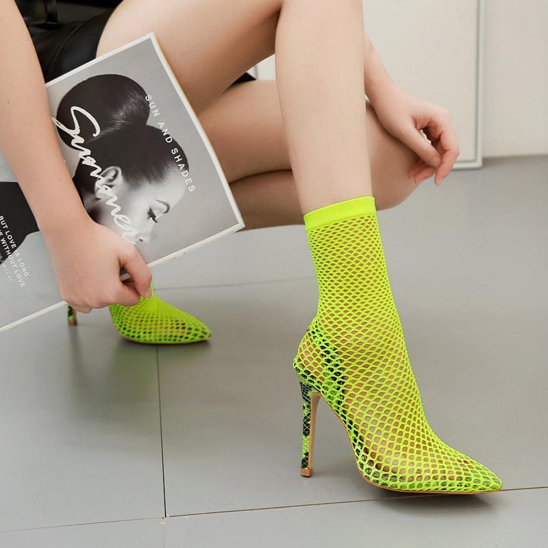 Botas 12 cm tacón alto zapatos de mujer sexy malla de encaje negro dama verde tobillo verano