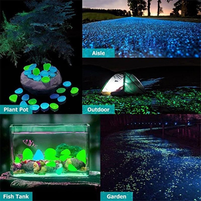 100 unids / lote piedras luminosas resplandor brillo oscuro decorativo guijarros pasarela de césped acuario jardín fluorescente brillante decorativo piedras vtky2230