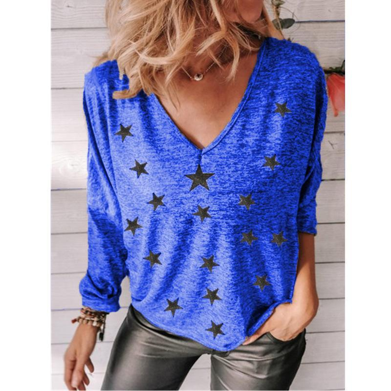 Mandylandy Moda Femenino Casual Camisas Estrella Impresa Mujeres Tshirts Camisetas de manga larga con cuello en V Cosuchas Top de gran tamaño