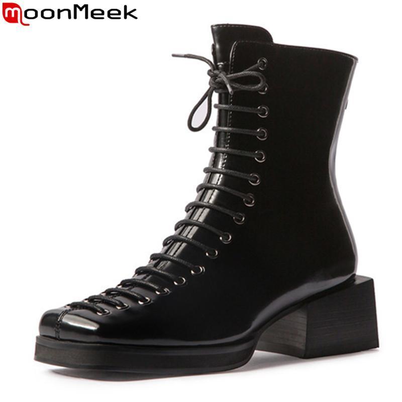 Moonmeek 2020 Nueva llegada Otoño Otoño Botas de invierno de alta calidad Botas de tobillo de color negro Tacones gruesos Toe Square Toe Mujeres
