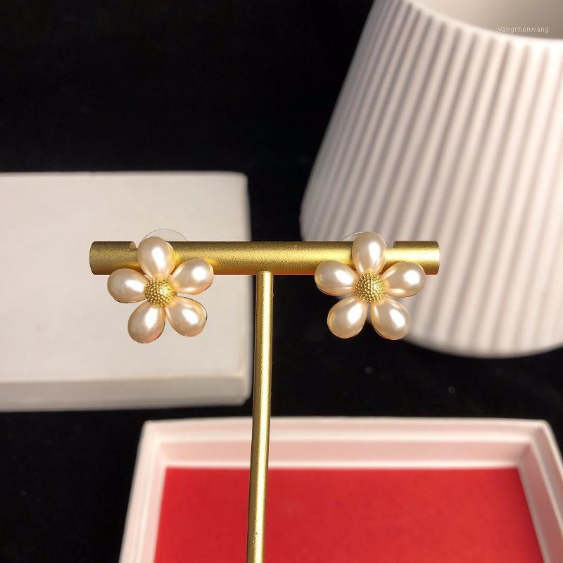 Orecchini da donna orecchini perla elegante stile semplice stile bianco fiori orecchini orecchini gioielli per lady1