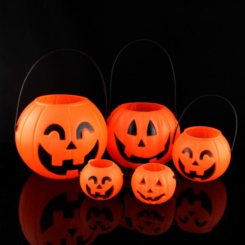 Niños 7 cm / 11cm / 17cm Party Bucket Candy Pail o suministros Trate Halloween Truck Bag Holder Halloween Decoración de caramelo Calabaza Awoei