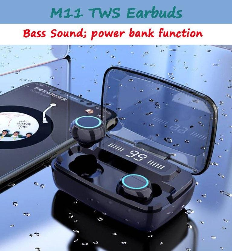 M11 TWS اللاسلكية بلوتوث المسار التحكم سماعات الأذن سماعات آلية الاقتران سماعات باس الصوت 3600mAh قوة البنك مع شاشة LED الرقمية