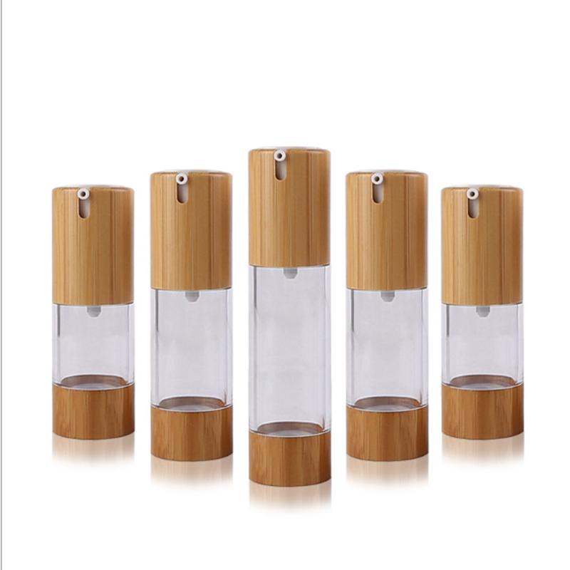 15ML 30ML 50ML 0 5 أوقية 1 أوقية زجاجات الرش استحمام الخيزران دفع نوع فراغ غسول زجاجة حزم التجميل
