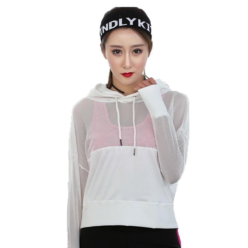 2020 женщин рубашки фитнес йога одежда весной и летом спортивная куртка тренажерный зал одежда с длинными рукавами работает одежду с капюшоном топ блузку