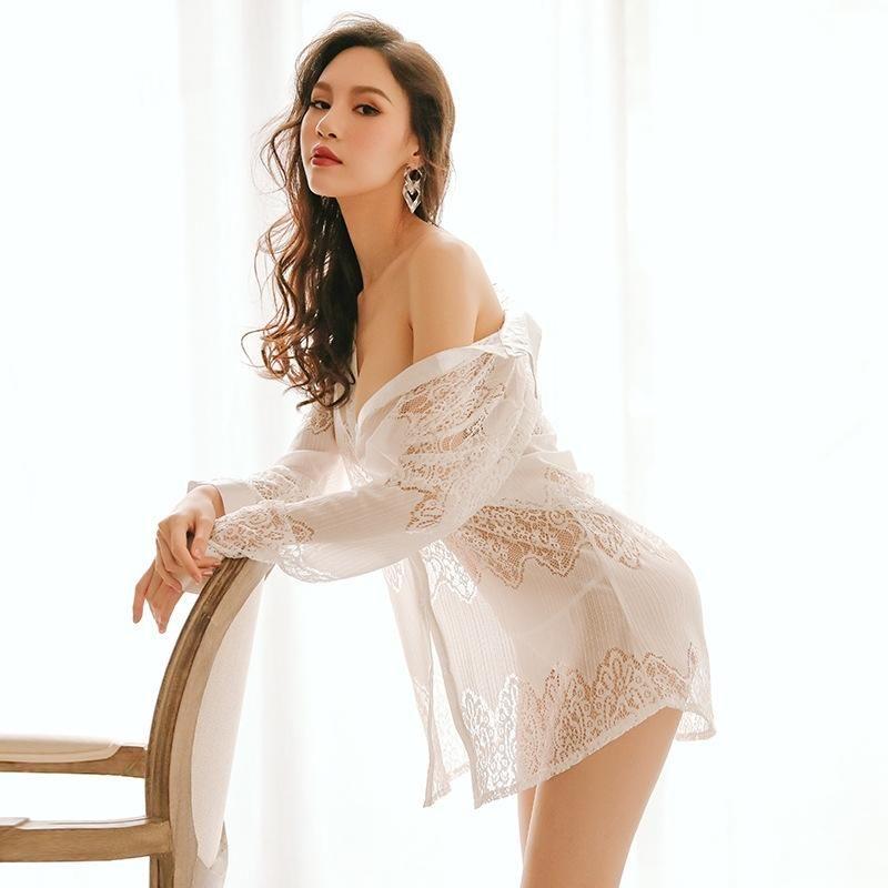 Sexy Light Luxo Underwear Pijamas Mulheres Escavar Perspectiva Tentação Doce Nightshirt Tops Oversized Cardigan Nightwear
