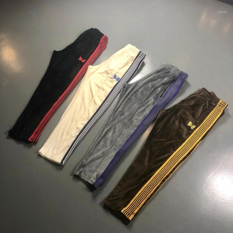 AŞAĞI X İğneler Pantolon Erkekler Kadınlar Casual Şaşırtma X İğneler Sweatpants 19ss dar Velor Kelebek Nakış Pantolon1